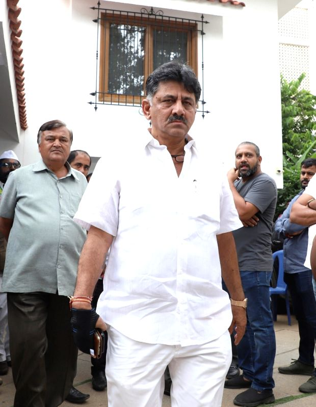 Bengaluru: Former Karnataka Minister D.K. Shivakumar at the residence of Former Karnataka Chief Minister S.M. Krishna who's son-in-law, Bengaluru-based Cafe Coffee Day retail chain founder V.G. Siddhartha went missing on Monday night from Mangaluru;