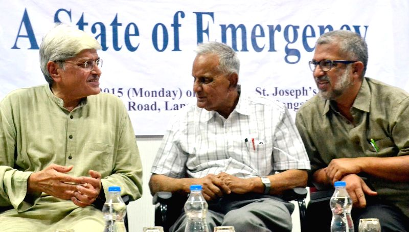 Former West Bengal Governor Gopalkrishna Gandhi during the 35th J P Memorial Lecture on ``A State of Emergency``  organised by Peoples Union for Civil Liberties at St Joseph College, ...