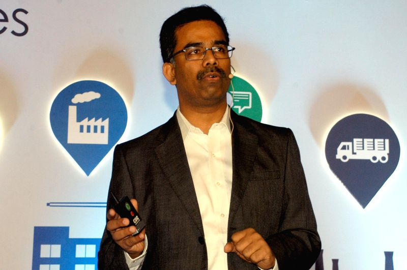 Google India Head of SMB sales Suryanarayana Kodukulla during a programme organised to launch 'Google My Business' to help SMBs create and manage their presence online, in Bengaluru, ..