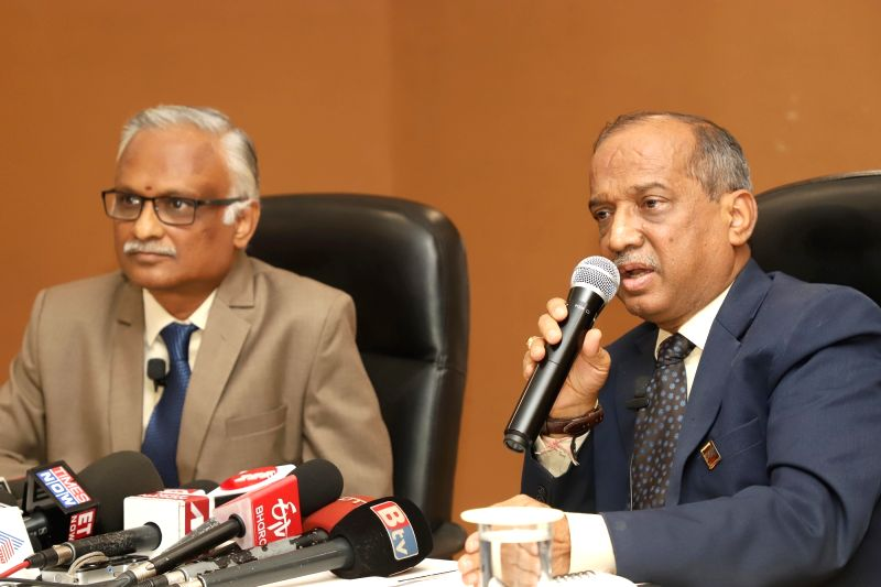 Bengaluru: HAL Chief Financial Officer C. B. Ananthakrishnan and Human Resources Director VM Chamola during a press conference at HAL corporate office, in Bengaluru on Oct 15, 2019. (Photo: IANS)