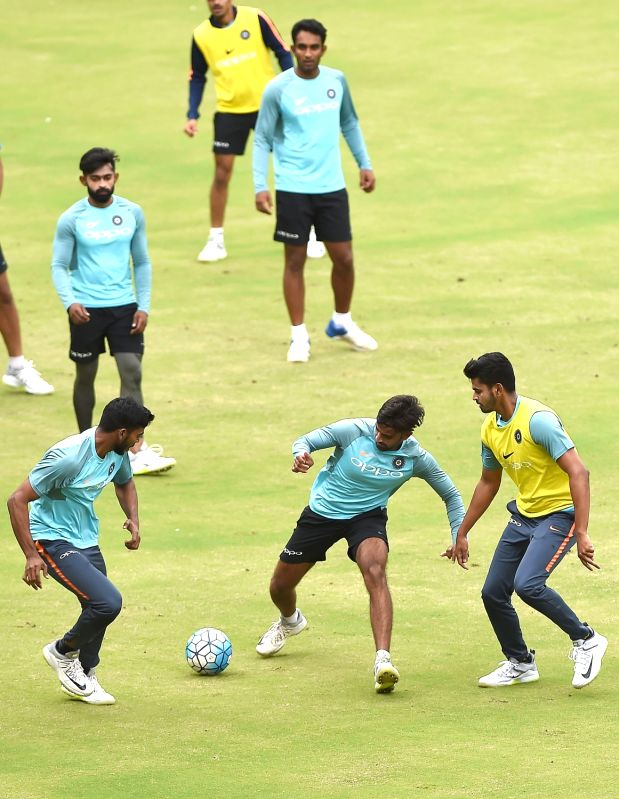 Bengaluru: India A cricketers during a practice session ahead of  a four-day matches against South Africa A at M Chinnaswamy stadium, in Bengaluru, on  Aug 3, 2018