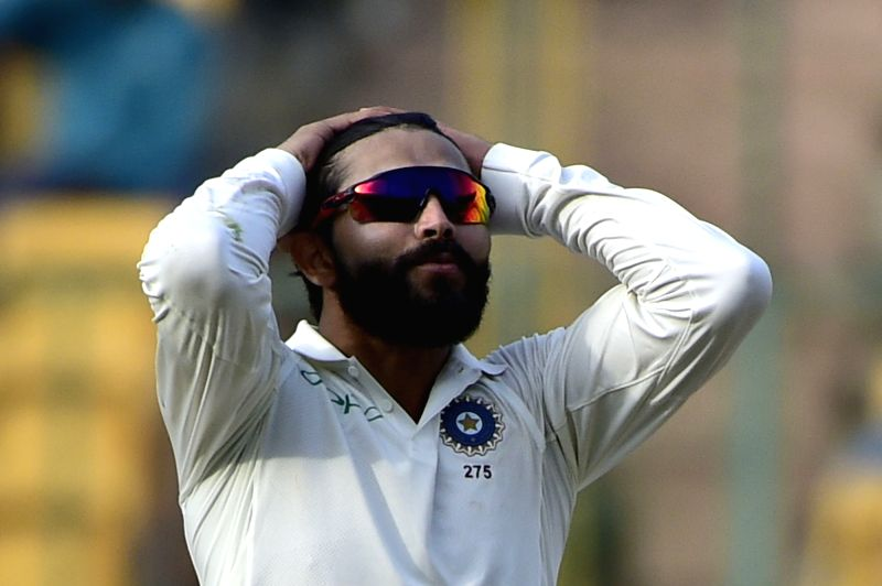 Bengaluru: India's Ravindra Jadeja on Day 2 of the one-off test match between India and Afghanistan at M. Chinnaswamy Stadium, in Bengaluru on June 15, 2018.