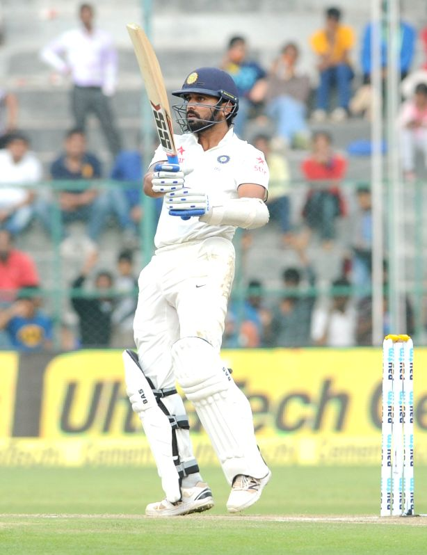 :Bengaluru: Indian batsman Murali Vijay in action during the first day of the second test match between India and South Africa at M Chinnaswamy Stadium in Bengaluru, on Nov 14, 2015. .