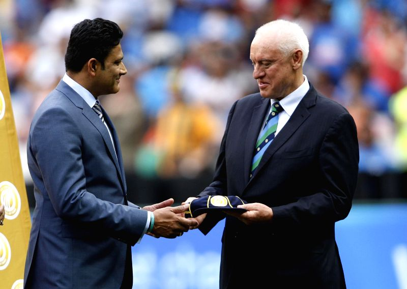 Indian cricketer Anil Kumble at the Melbourne Cricket Ground during an ICC World Cup 2015 match between India and South Africa in Melbourne, Australia on Feb 22, 2015.