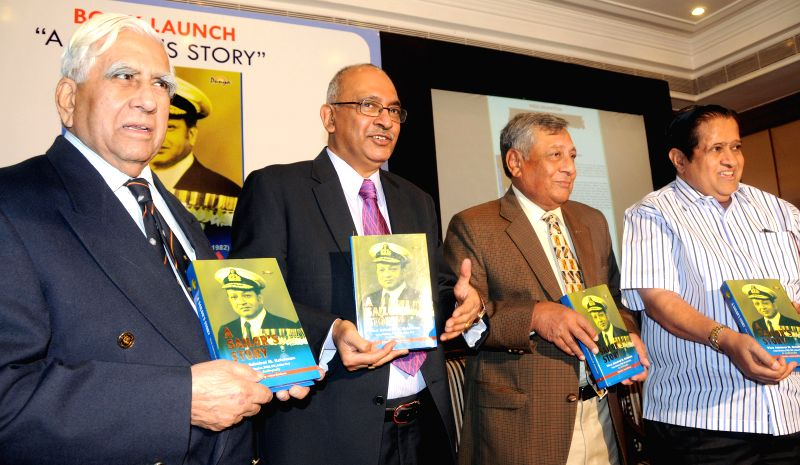 Indian Navy Vice Admiral (retd.) PJ Jacob, Rear Admiral (Retd) GC Thadani, Editor and Publisher of `A Salior`s Story` Arjun Krishnan at the launch of the book  in Bengaluru, on Nov 27, ...