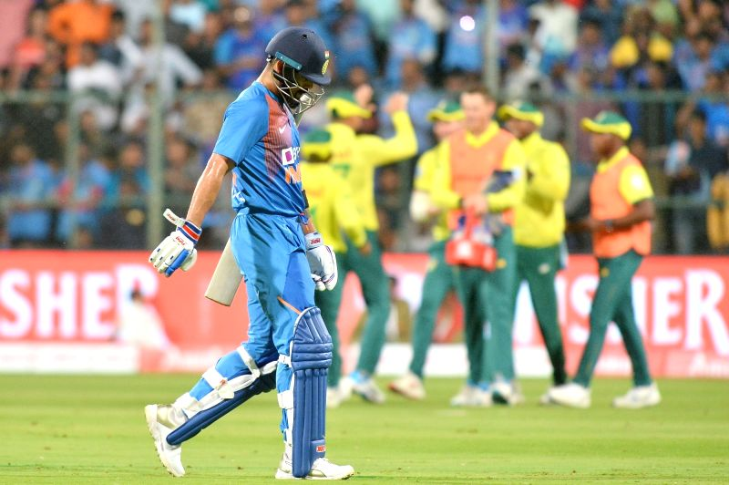 Bengaluru: Indian skipper Virat Kohli walks back to the pavilion after getting dismissed during the 3rd T20I match between India and South Africa at M. Chinnaswamy Stadium in Bengaluru on Sep 22, 2019.