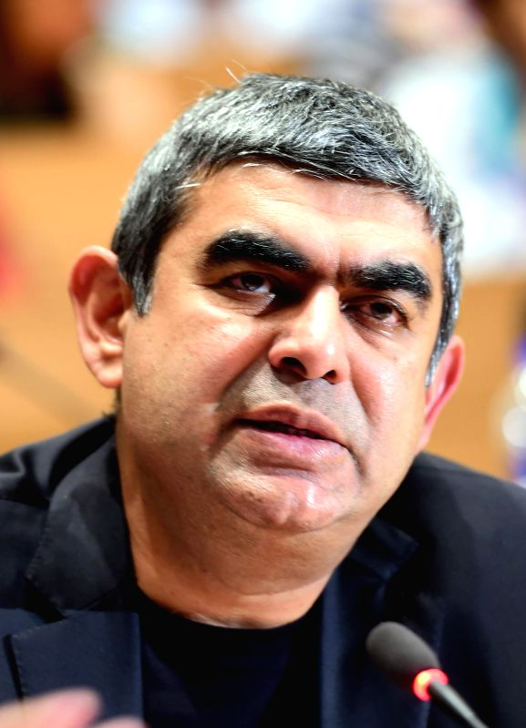 Infosys  CEO and MD Vishal Sikka during a press conference in Bengaluru, on Jan 9, 2015.