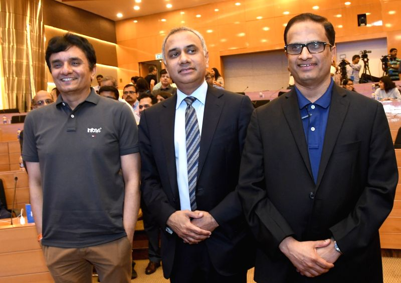 : Bengaluru: Infosys CFO M D Ranganath, CEO and MD Salil Parekh and COO UB Pravin Rao during a press conference in Bengaluru, on April 13, 2018. (Photo: IANS).