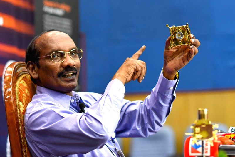 ISRO Chairman K. Sivan addresses a press conference after the insertion of India's spacecraft to the moon, Chandrayaan-2, into the lunar orbit; at ISRO Headquarters