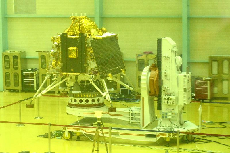 Bengaluru: ISRO personnel give final touches to the Lander (Vikram) and the Rover (Pragyan) of India's second moon mission Chandrayaan 2, that is scheduled to be launched between July 9-16, at ISRO Satellite Integration and Testing Establishment faci