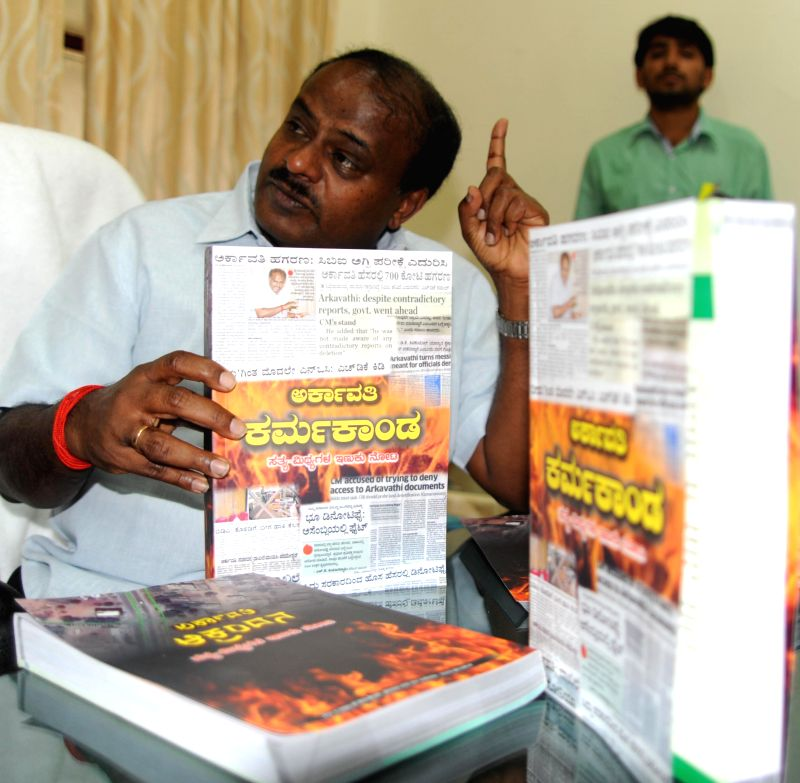 Janata Dal(Secular) leader H. D. Kumaraswamy during a press conference organised to launch Arkavathi's book in Bengaluru, on Feb 6, 2015.