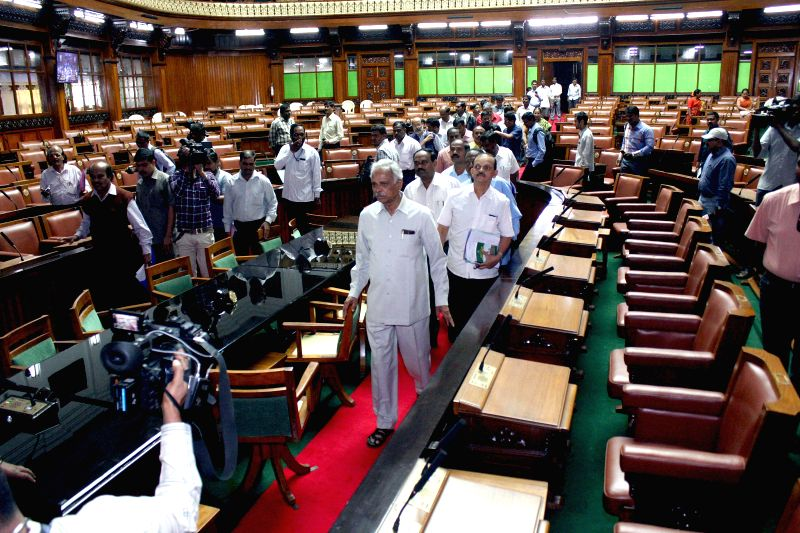 Kagodu Thimmappa, Assembly Speaker, inspecting the renovated assembly hall  for joint session at Vidhan Soudha, in Bengaluru on Feb. 1, 2015.