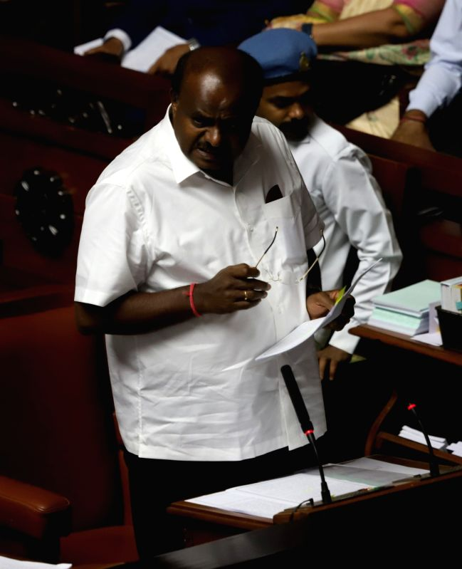 Bengaluru: Karnataka Chief Minister H.D. Kumaraswamy during state assembly session at Vidhan Soudha in Bengaluru on July 12, 2019. (Photo: IANS)