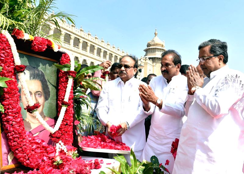Karnataka Chief Minister Siddaramaiah, Karnataka Home Minister K J George and others during a programme organised to pay tribute to former prime minister of India Indira Gandhi on her ... - Siddaramaiah