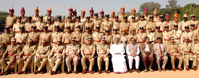 Karnataka Chief Minister Siddaramaiah during an investiture ceremony organised to present Chief Minister's Medal at KSRP Parade Grounds, in Bengaluru on Dec 5, 2014. - Siddaramaiah