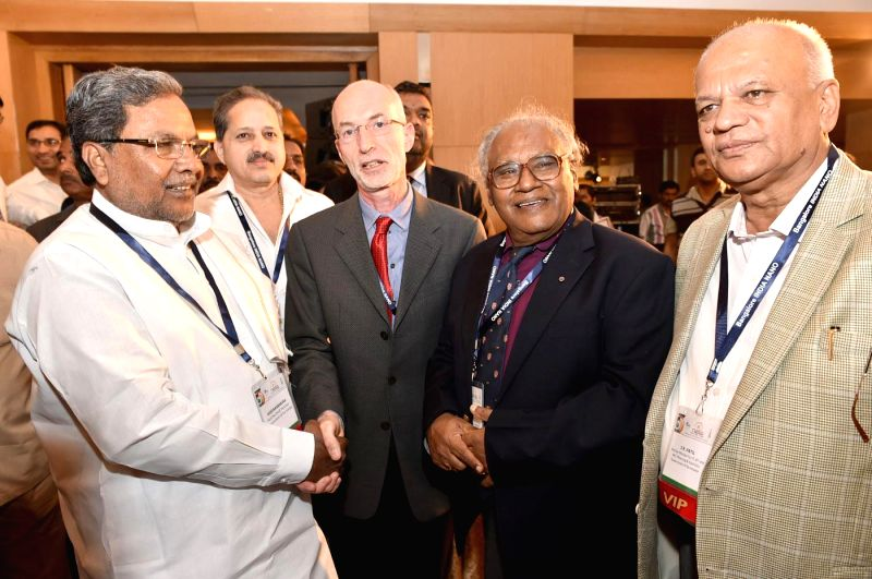 Karnataka Chief Minister Siddaramaiah with eminent scientist and Bharat Ratna awardee professor CNR Rao during the Bangalore India Nano Exhibition 2014, in Bengaluru on Dec 5, 2014. (Photo - Siddaramaiah