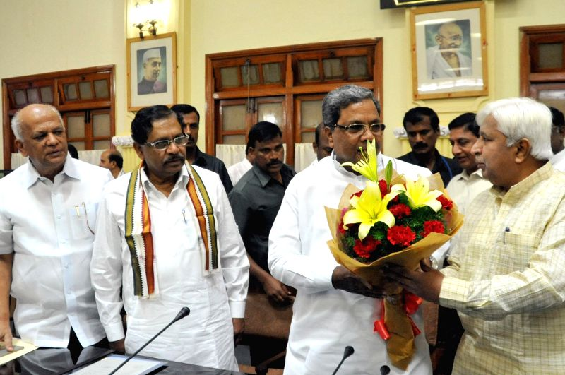 Karnataka Chief Minister Siddaramaiah, Karnataka Congress chief G Parmeshwar during a  Congress Legislative Party meeting at Vidhana Soudha in Bengaluru, on Jan 2, 2015. - Siddaramaiah