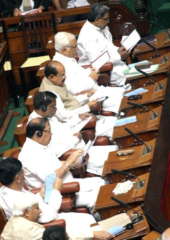 Karnataka Chief Minister Siddaramaiah addresses during a joint Karnataka Legislative Assembly at Vidhan Soudha, in Bengaluru on Feb. 2, 2015. - Siddaramaiah