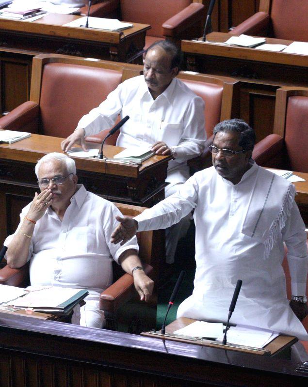 Karnataka Chief Minister Siddaramaiah during a joint Karnataka Legislative Assembly at Vidhan Soudha, in Bengaluru on Feb. 4, 2015. - Siddaramaiah