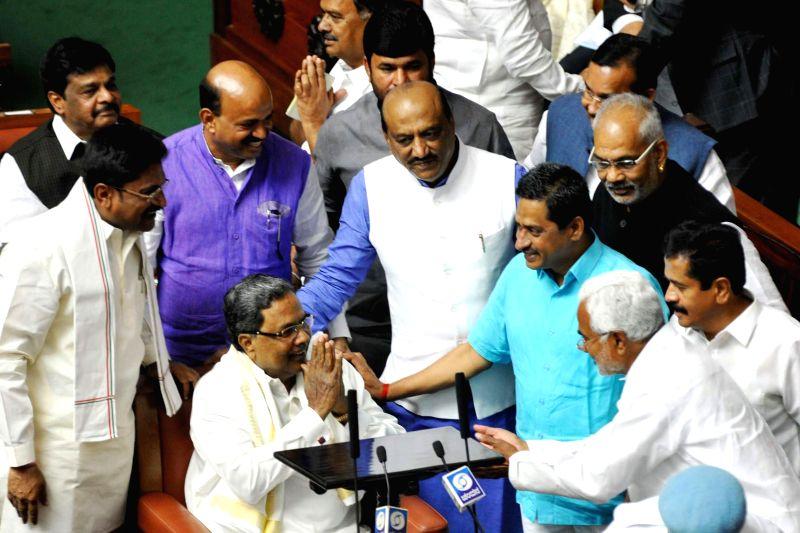 Karnataka Chief Minister Siddaramaiah presents state budget 2015-16 at the assembly in Bengaluru, on March 13, 2015. - Siddaramaiah