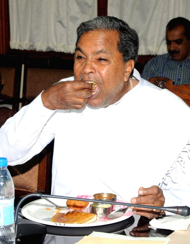 Karnataka Chief Minister Siddaramaiah during a Congress Legislature Party (CLP) meeting at the conference hall of Vidhana Soudha, in Bengaluru on March 25, 2015. - Siddaramaiah
