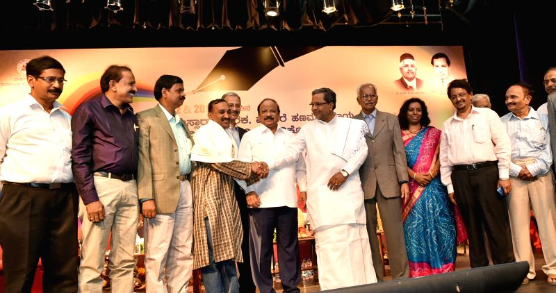 Karnataka Chief Minister Siddaramaiah during TSR and Mohare Hanumantharaya Award (for Excellence in Journalism for 2012-2013) presentation ceremony in Bengaluru, on March 27, 2015. - Siddaramaiah