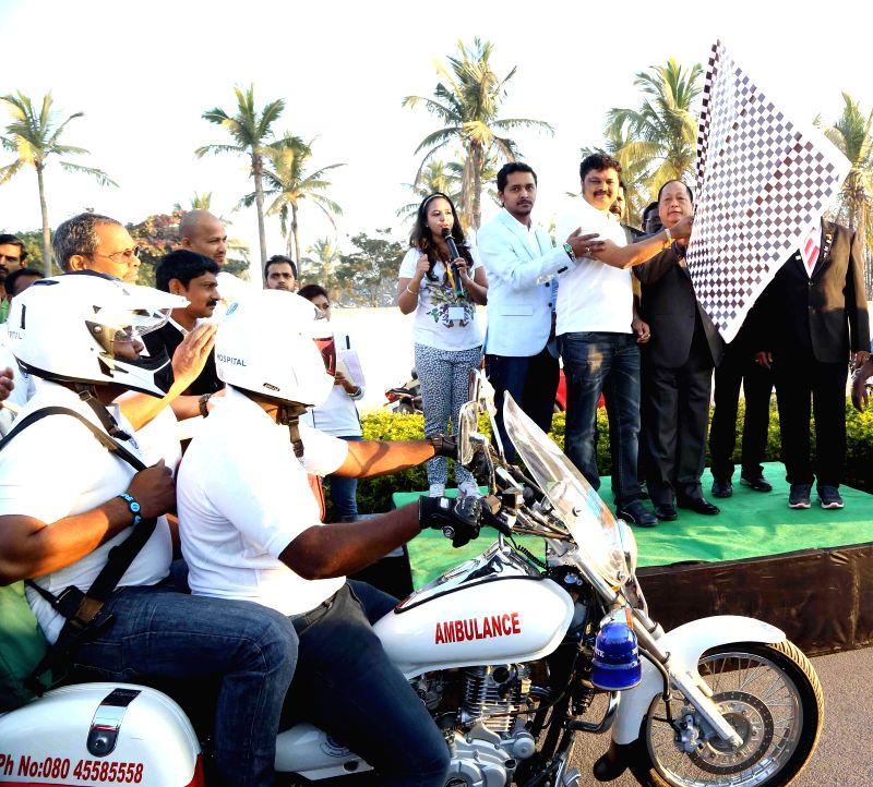 Karnataka DG and IGP Lalrokhuma Pachuau during the launch of `Mobike Ambulance` at Kotthanuru in Bengaluru on Feb 21, 2015.