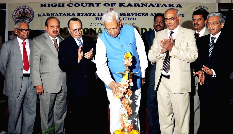Karnataka Governor Vajubhai Rudabhai Vala during the inauguration of `National Lok Adalat` organised by High Court of Karnataka and Karnataka State Legal Services Authority at High Court ..