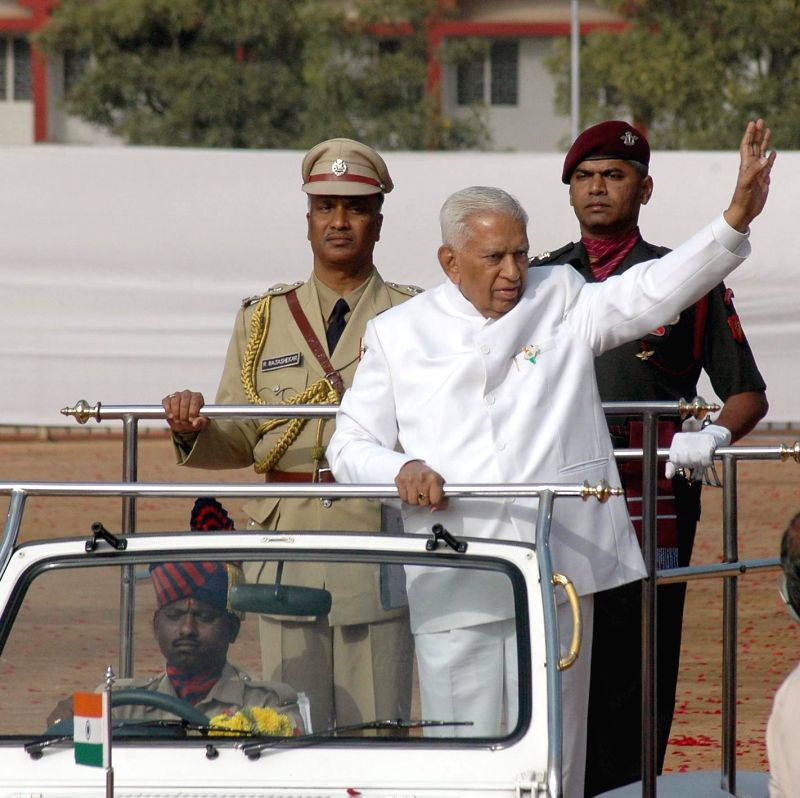 Karnataka Governor Vajubhai Rudabhai Vala inspects the guard of honour at the Manekshaw Parade Grounds on Republic Day  in Bengaluru, on Jan 26, 2015.