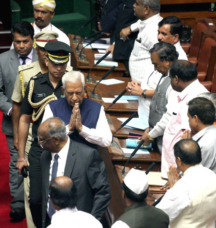 Karnataka Governor Vajubhai Rudabhai Vala during a joint Karnataka Legislative Assembly at Vidhan Soudha, in Bengaluru on Feb. 2, 2015.