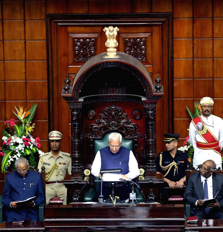 Karnataka Governor Vajubhai Rudabhai Vala addresses during a joint Karnataka Legislative Assembly at Vidhan Soudha, in Bengaluru on Feb. 2, 2015.