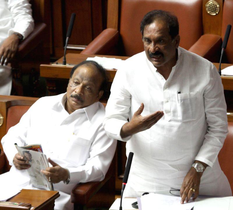 Karnataka Home Minister K J George during a joint Karnataka Legislative Assembly at Vidhan Soudha, in Bengaluru on Feb. 3, 2015. - K J George