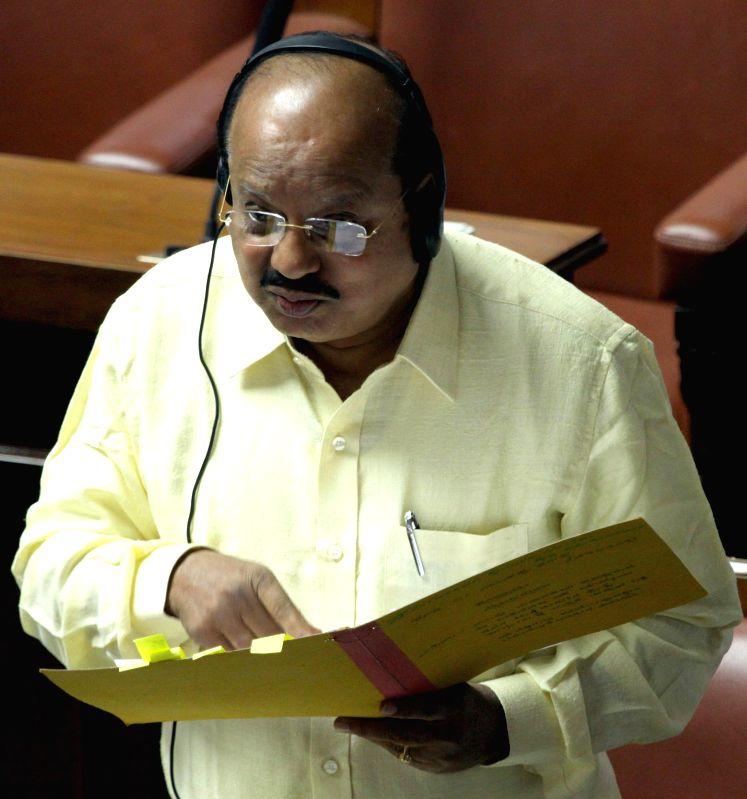Karnataka Law Minister T B Jayachandra during a joint Karnataka Legislative Assembly at Vidhan Soudha, in Bengaluru on Feb. 3, 2015. - T B Jayachandra