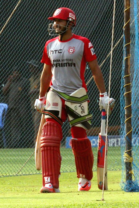 Kings XI Punjab player during a practice session at M Chinnaswamy Stadium, in Bengaluru, on May 5, 2015.