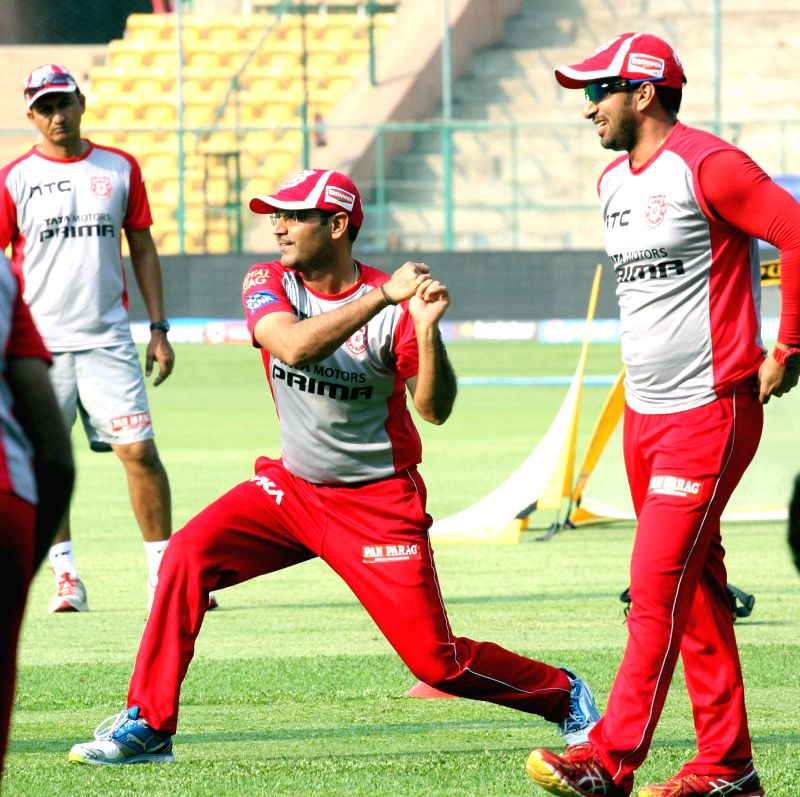 Kings XI Punjab player Virender Sehwag during a practice session at M Chinnaswamy Stadium, in Bengaluru, on May 5, 2015.