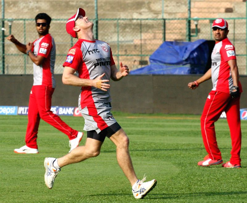 Kings XI Punjab players during a practice session at M Chinnaswamy Stadium, in Bengaluru, on May 5, 2015.