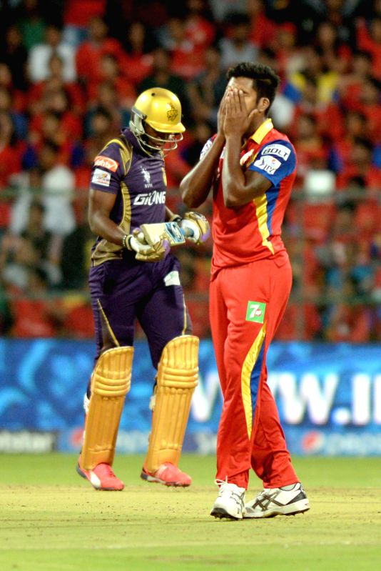 Kolkata Knight Riders batsman Andre Russell during an IPL-2015 match between Royal Challengers Bangalore and Kolkata Knight Riders at M Chinnaswamy Stadium in Bangaluru on May 2, 2015. - Andre Russell