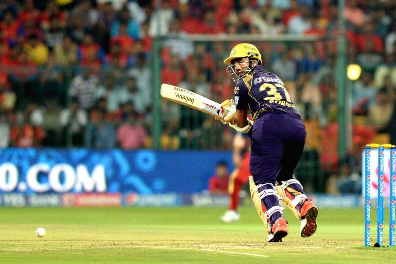 Kolkata Knight Riders batsman Robin Uthappa in action during an IPL-2015 match between Royal Challengers Bangalore and Kolkata Knight Riders at M Chinnaswamy Stadium in Bangaluru on May 2, ... - Robin Uthappa