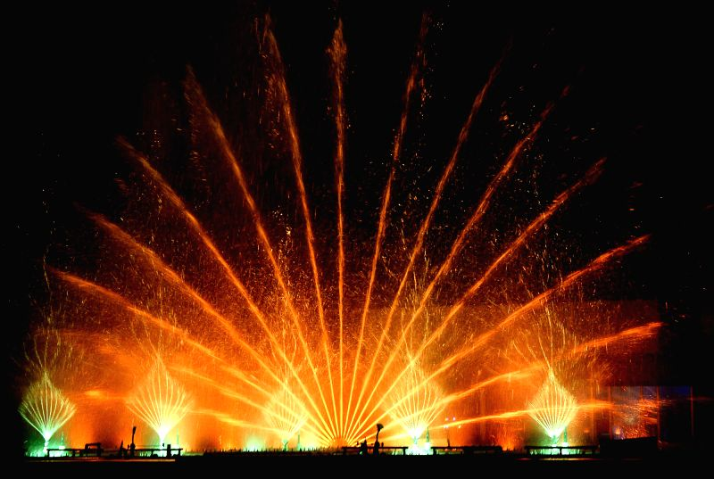 Laser light and water show underway at Jinke Park in Bengaluru, on April 15, 2015.