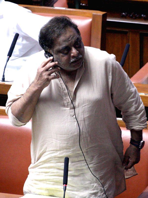 Legislator Ambareesh during a joint Karnataka Legislative Assembly at Vidhan Soudha, in Bengaluru on Feb. 4, 2015.