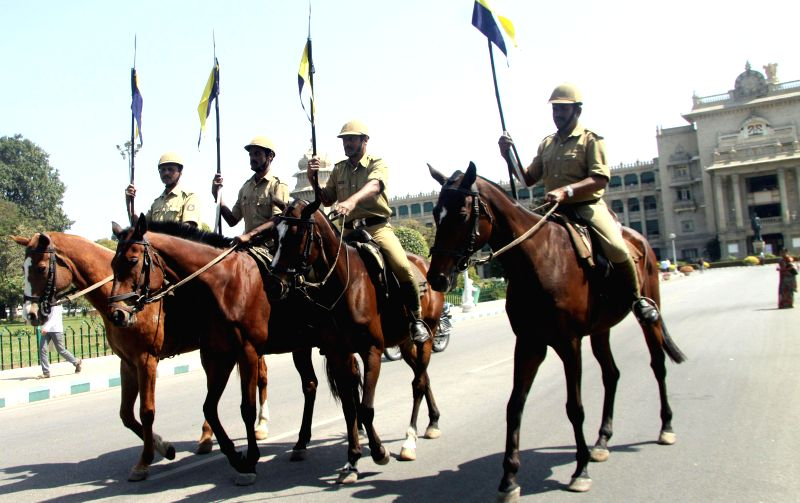 Bengaluru : Mounted policemen rehearsing for joint session at Vidhan Soudha, in Bengaluru on Feb. 1, 2015.