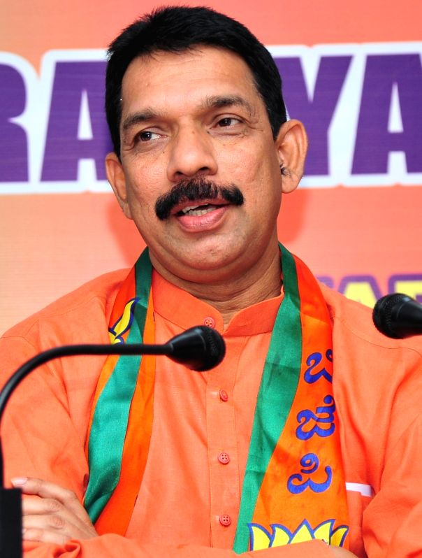 Bengaluru: Nalin Kumar Kateel addresses a press conference after taking charge as BJP's Karnataka unit president for a period of three years till 2023, in Bengaluru on Jan 16, 2020.