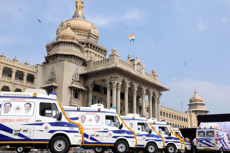 Newly launched fleet of 198 Aarogya Kavacha Ambulances at Vidhana Soudha, in Bengaluru on Nov. 25, 2014.