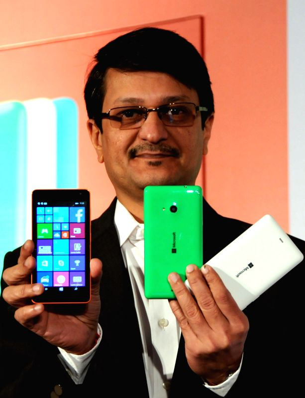 Nokia India Sales Pvt. Ltd (a subsidiary of Microsoft Mobile Oy) Director Viral Oza at the launch of Lumia 535 - Microsoft's first Lumia phone without Nokia branding in India in Bengaluru .