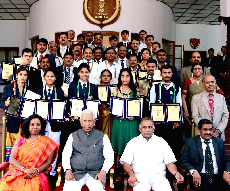 NSS award winners with Karnataka Governor Vajubhai Rudabhai Vala during an award presentation ceremony in Bengaluru, on Feb 6, 2015.