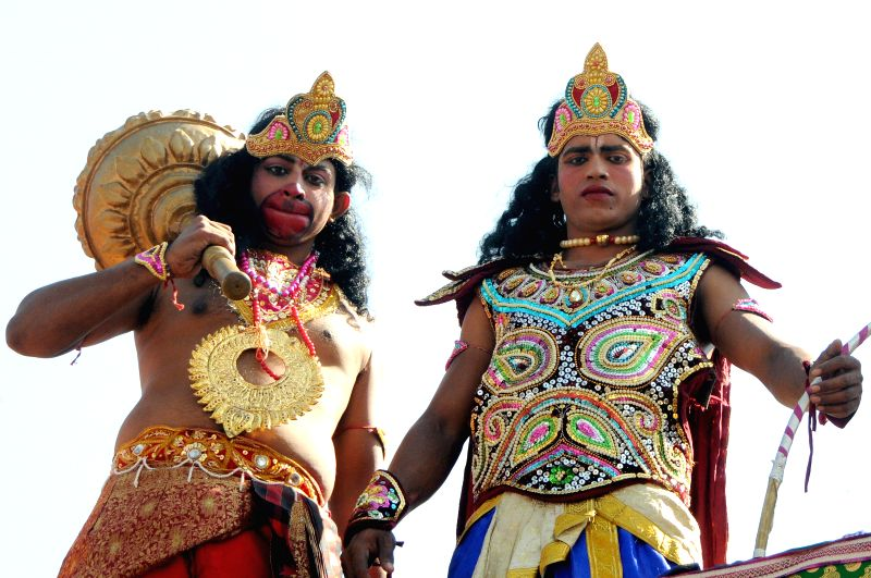 People disguise as Ram and Hanuman on Hanuman Jayanti, in Bengaluru, on Dec 4, 2014.
