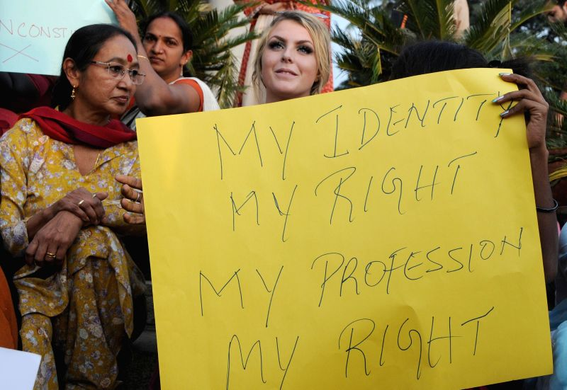 People from transgenders community stage a demonstration against police atrocity in Bengaluru, on Nov 26, 2014.