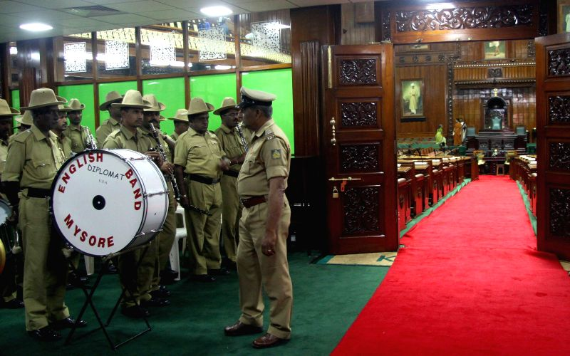 Bengaluru : Police band rehearsing to welcome the governor for the joint session at Vidhan Soudha, in Bengaluru on Feb. 1, 2015.