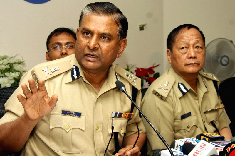 Police Commissioner M N Reddy with DGP Lalrokhuma Pachau addresses a press conference on Mehdi Masroor Biswas, Bengaluru based man who allegedly operated Islamic States (IS) most ...