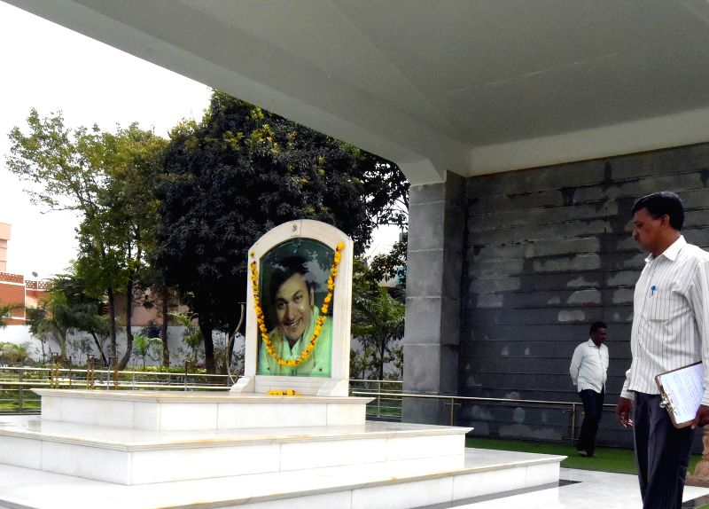Preparations for the inauguration of a Dr. Rajkumar Smaraka underway at Kanteerava Studio, in Bengaluru on Nov. 28, 2014.